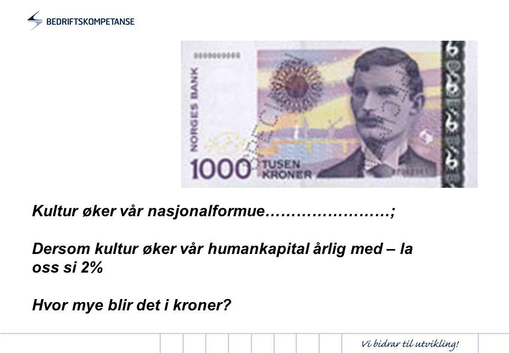 Kultur øker vår nasjonalformue……………………; Dersom kultur øker vår humankapital årlig med – la oss si 2% Hvor mye blir det i kroner?