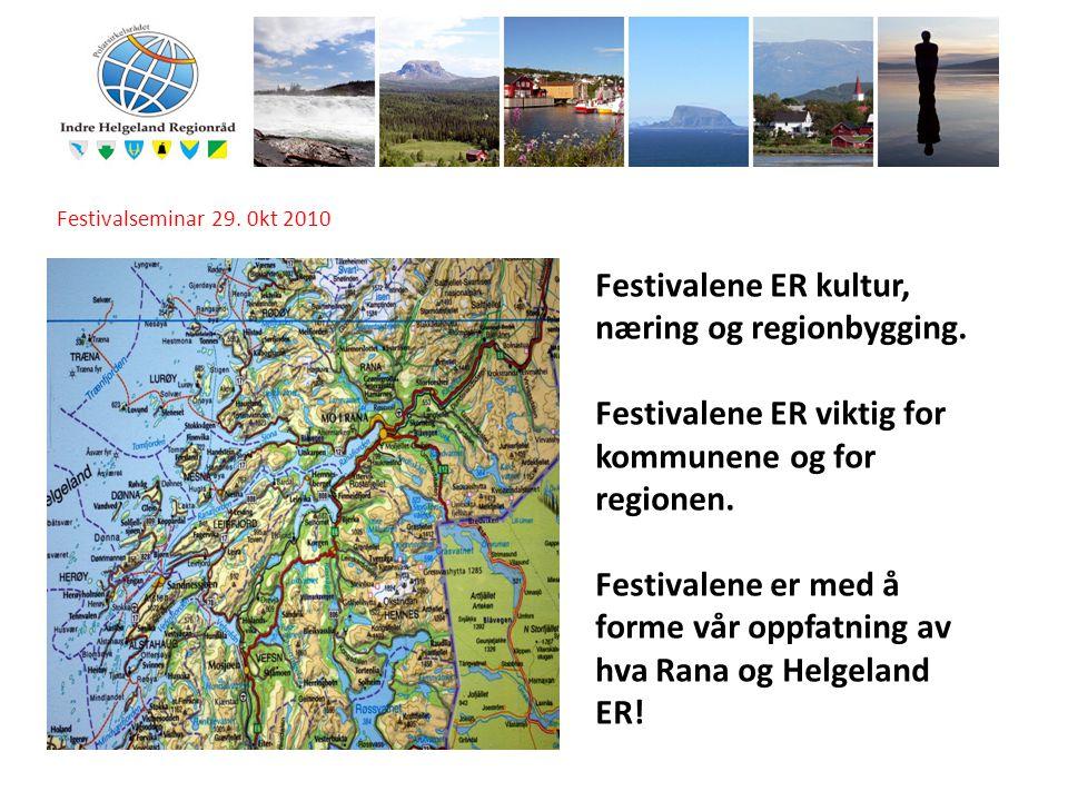 I Festivalseminar 29. 0kt 2010 Festivalene ER kultur, næring og regionbygging. Festivalene ER viktig for kommunene og for regionen. Festivalene er med