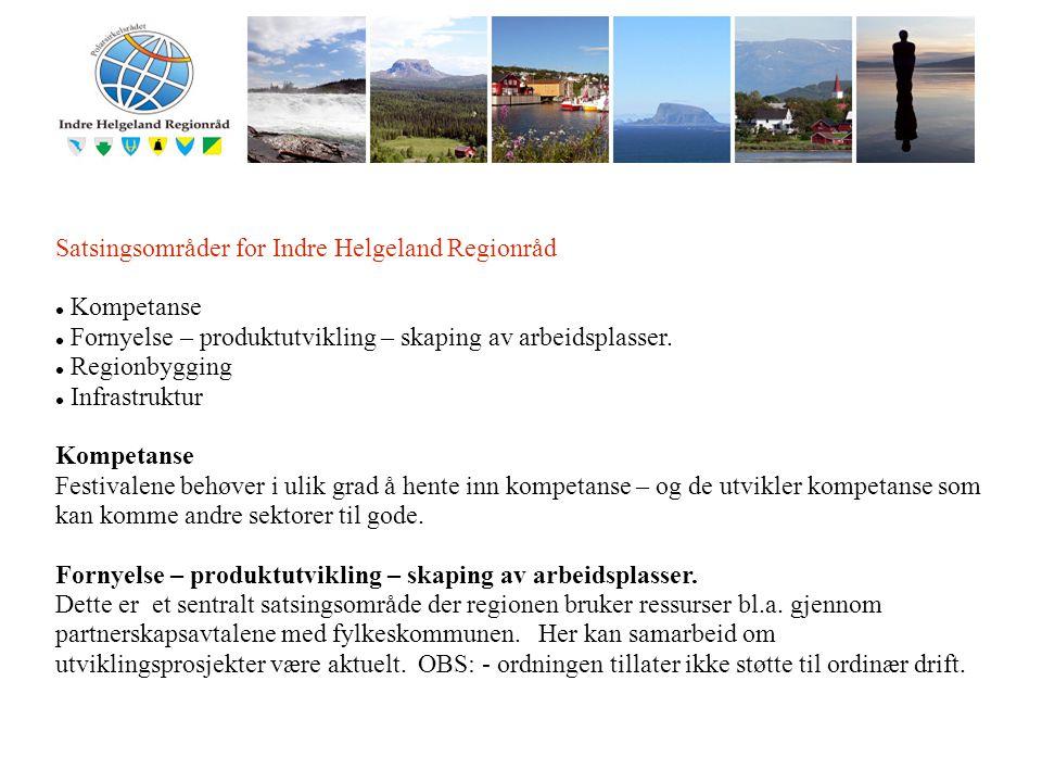 I Satsingsområder for Indre Helgeland Regionråd Kompetanse Fornyelse – produktutvikling – skaping av arbeidsplasser. Regionbygging Infrastruktur Kompe