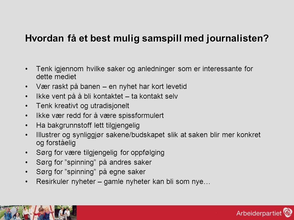 Hvordan få et best mulig samspill med journalisten? Tenk igjennom hvilke saker og anledninger som er interessante for dette mediet Vær raskt på banen