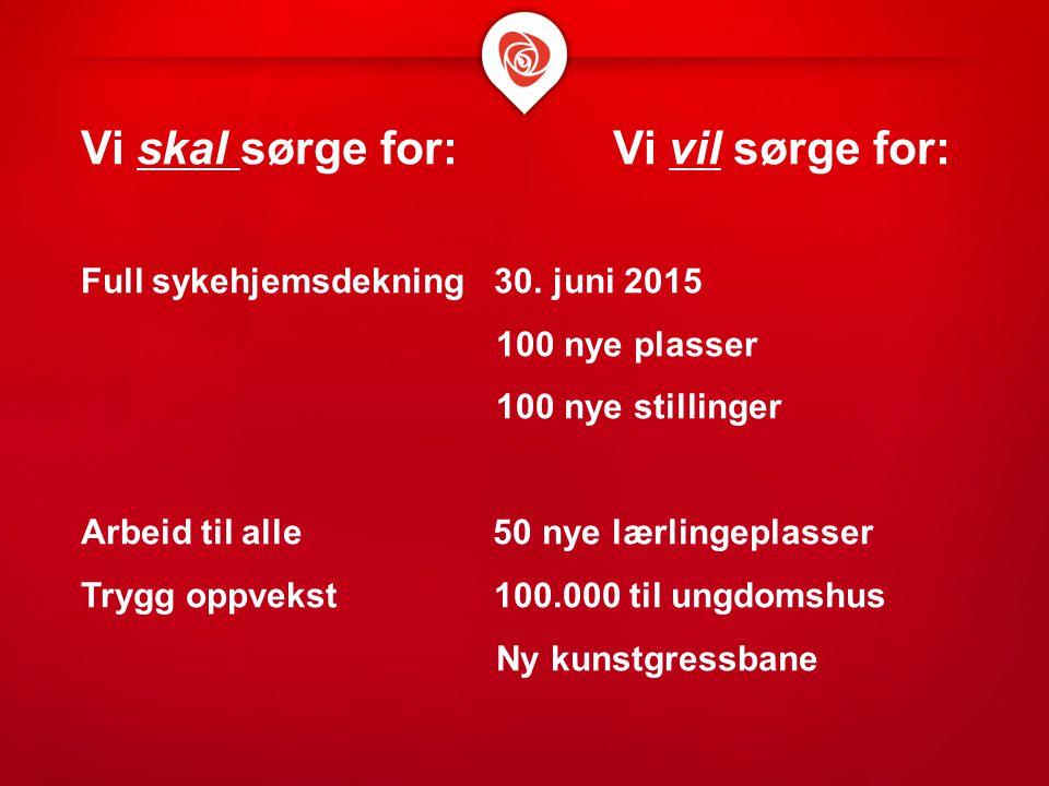 Vi skal sørge for: Vi vil sørge for: Full sykehjemsdekning 30. juni 2015 100 nye plasser 100 nye stillinger Arbeid til alle 50 nye lærlingeplasser Try