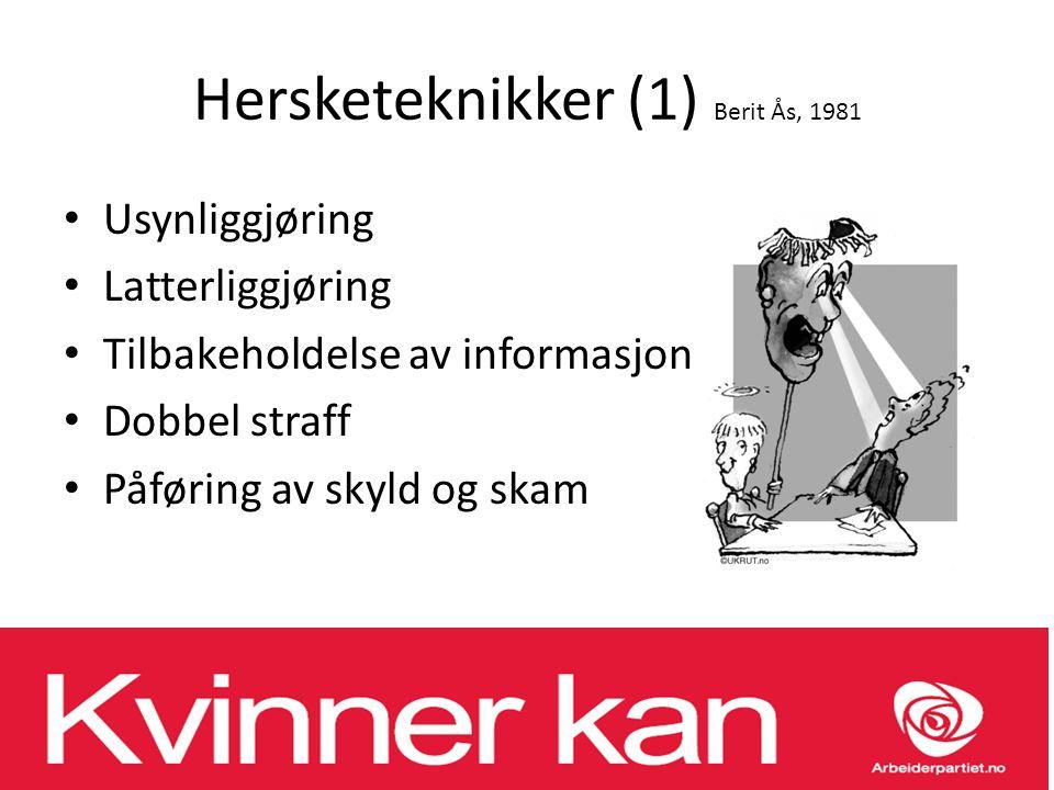 Hersketeknikker (1) Berit Ås, 1981 Usynliggjøring Latterliggjøring Tilbakeholdelse av informasjon Dobbel straff Påføring av skyld og skam
