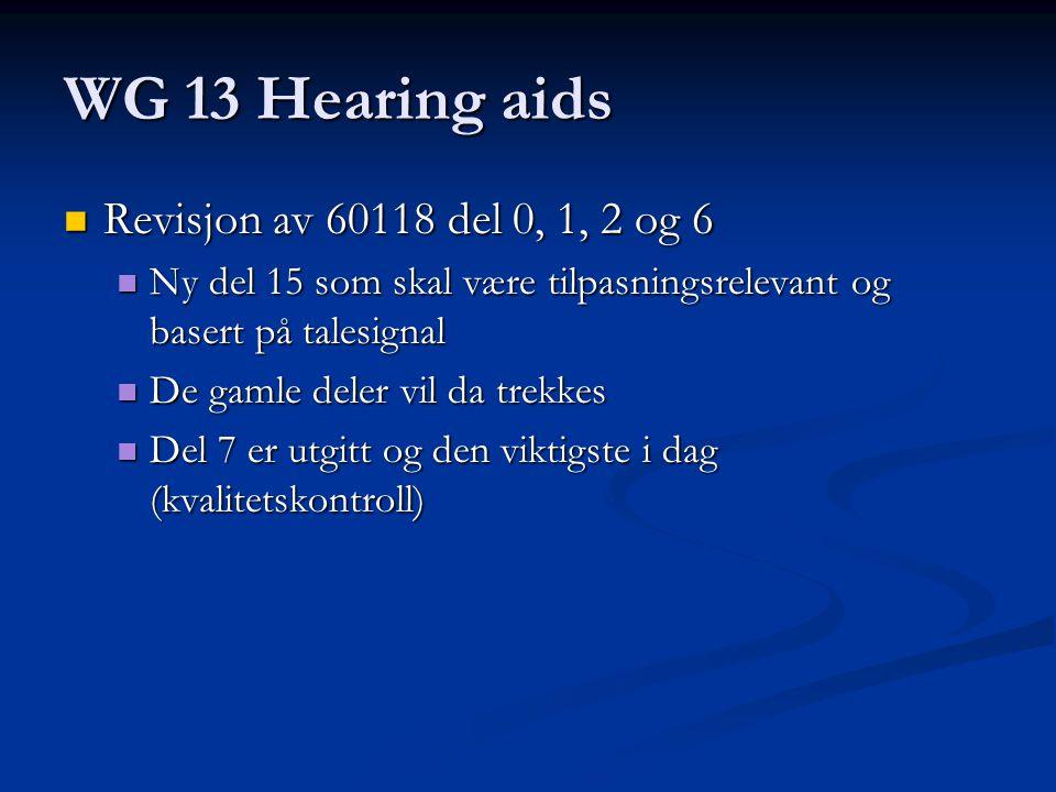 WG 13 Hearing aids Revisjon av 60118 del 0, 1, 2 og 6 Revisjon av 60118 del 0, 1, 2 og 6 Ny del 15 som skal være tilpasningsrelevant og basert på talesignal Ny del 15 som skal være tilpasningsrelevant og basert på talesignal De gamle deler vil da trekkes De gamle deler vil da trekkes Del 7 er utgitt og den viktigste i dag (kvalitetskontroll) Del 7 er utgitt og den viktigste i dag (kvalitetskontroll)