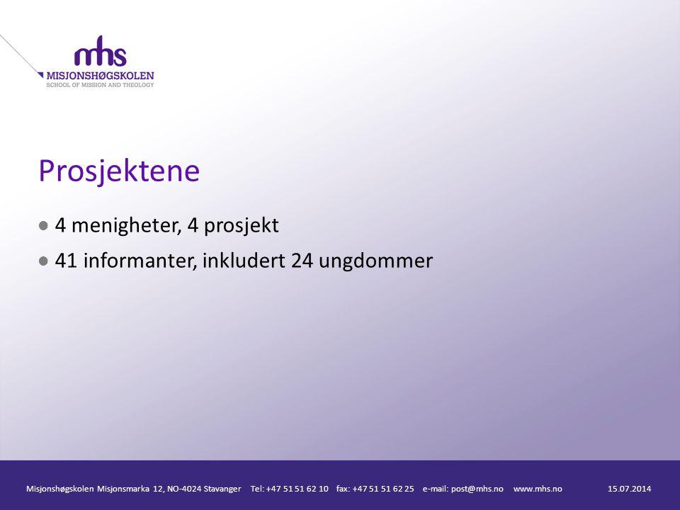 Prosjektene 4 menigheter, 4 prosjekt 41 informanter, inkludert 24 ungdommer 15.07.2014Misjonshøgskolen Misjonsmarka 12, NO-4024 Stavanger Tel: +47 51 51 62 10 fax: +47 51 51 62 25 e-mail: post@mhs.no www.mhs.no