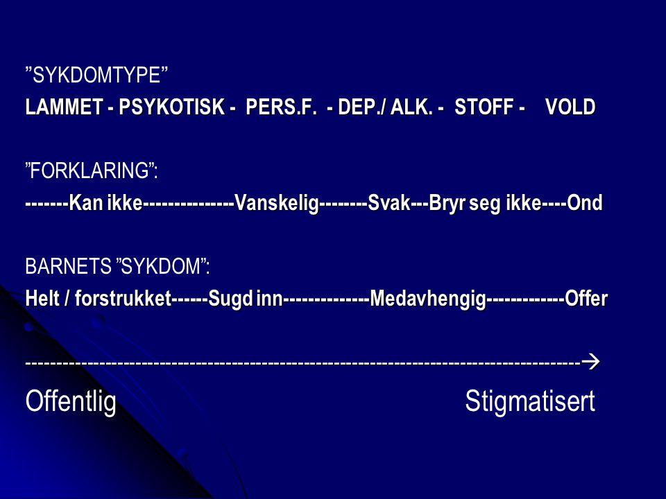 SYKDOMTYPE LAMMET - PSYKOTISK - PERS.F. - DEP./ ALK.
