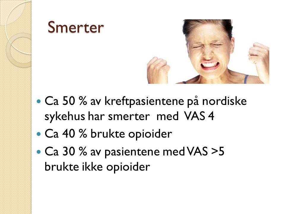 Smerter Ca 50 % av kreftpasientene på nordiske sykehus har smerter med VAS 4 Ca 40 % brukte opioider Ca 30 % av pasientene med VAS >5 brukte ikke opio