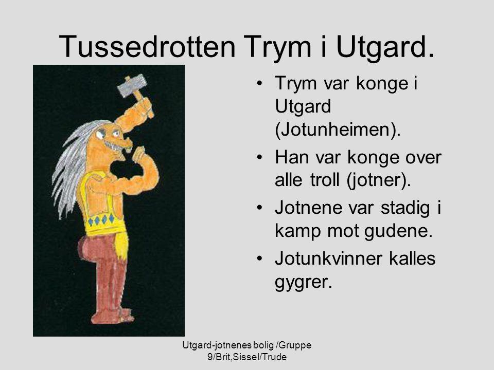 Utgard-jotnenes bolig /Gruppe 9/Brit,Sissel/Trude Tussedrotten Trym i Utgard. Trym var konge i Utgard (Jotunheimen). Han var konge over alle troll (jo