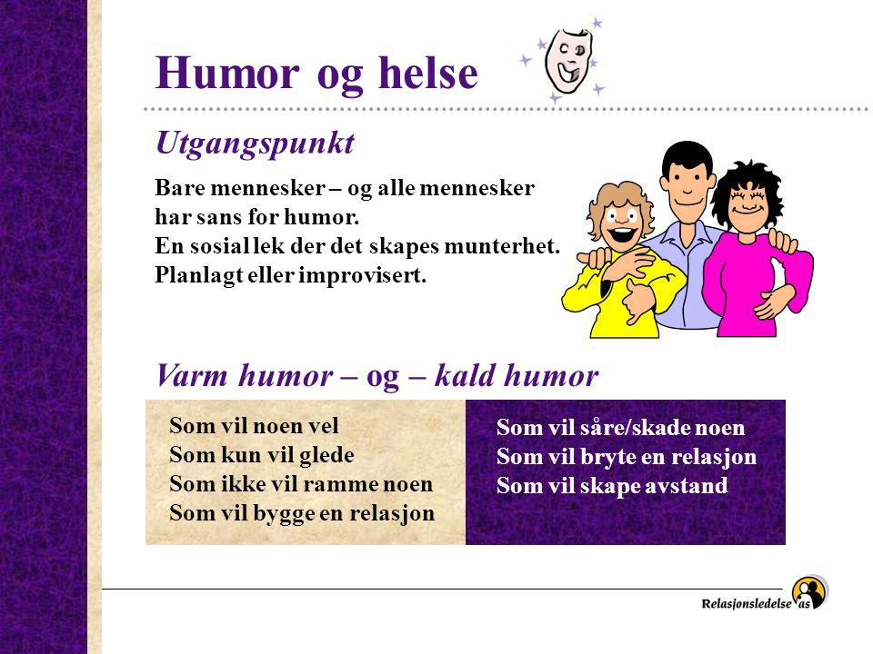 Humor og helse Bare mennesker – og alle mennesker har sans for humor. En sosial lek der det skapes munterhet. Planlagt eller improvisert. Utgangspunkt