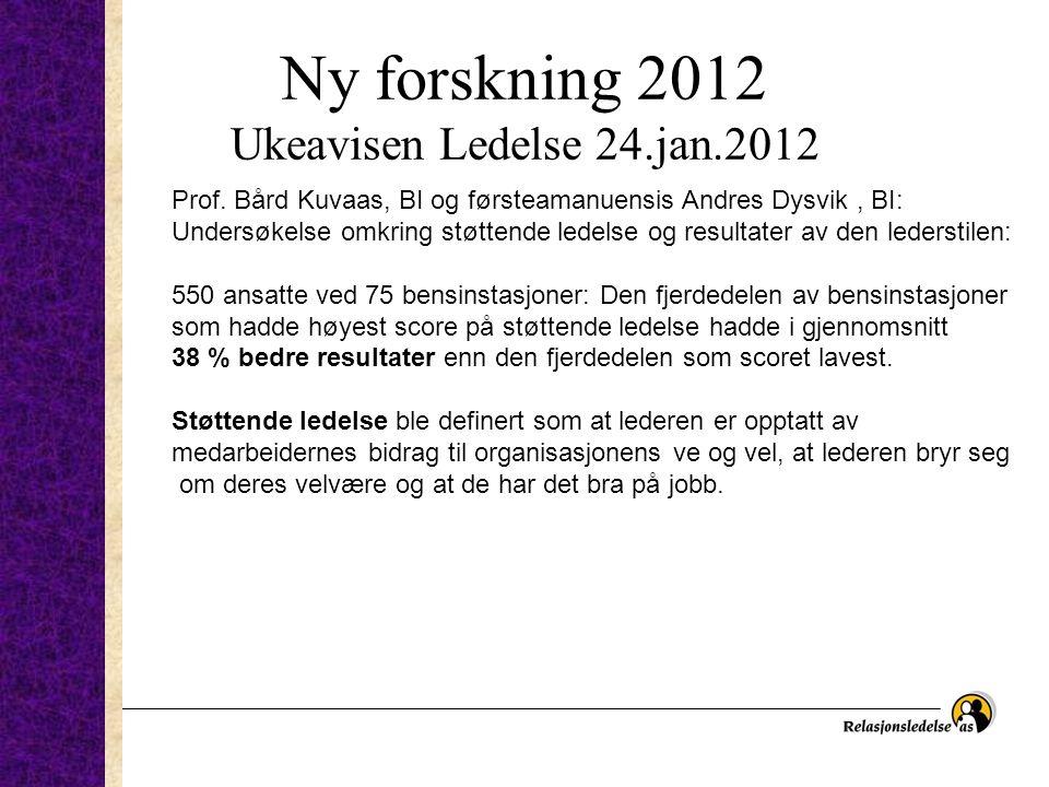 Ny forskning 2012 Ukeavisen Ledelse 24.jan.2012 Prof. Bård Kuvaas, BI og førsteamanuensis Andres Dysvik, BI: Undersøkelse omkring støttende ledelse og