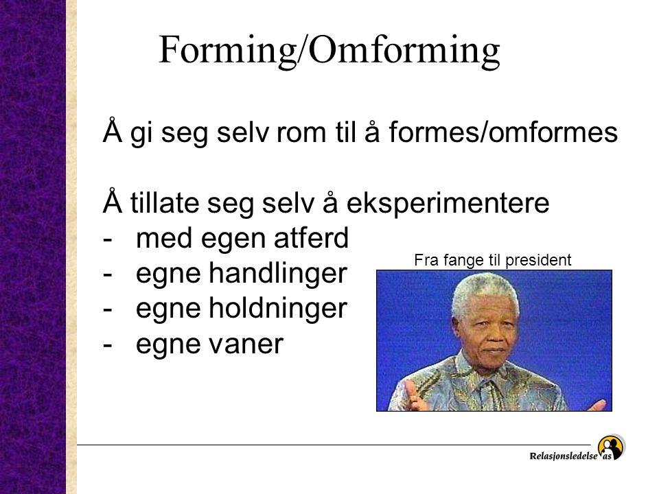 Forming/Omforming Å gi seg selv rom til å formes/omformes Å tillate seg selv å eksperimentere -med egen atferd -egne handlinger -egne holdninger -egne