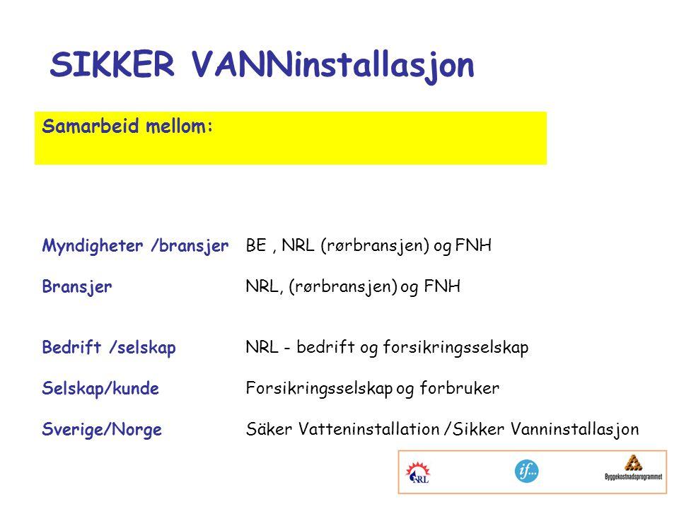 SIKKER VANNinstallasjon Samarbeid mellom: Myndigheter /bransjerBE, NRL (rørbransjen) og FNH BransjerNRL, (rørbransjen) og FNH Bedrift /selskapNRL - bedrift og forsikringsselskap Selskap/kundeForsikringsselskap og forbruker Sverige/NorgeSäker Vatteninstallation /Sikker Vanninstallasjon