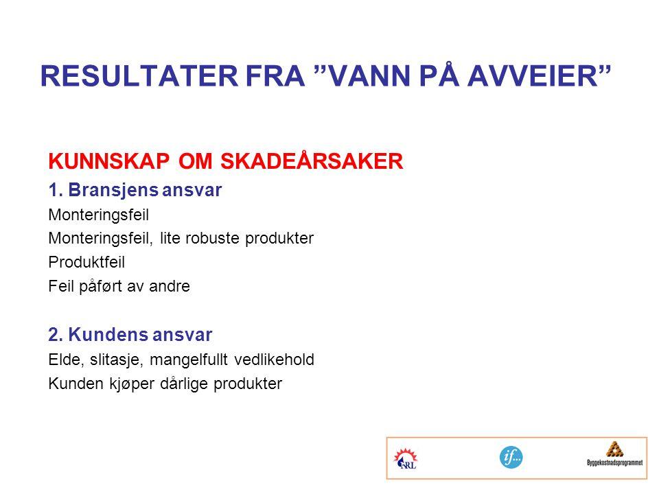 RESULTATER FRA VANN PÅ AVVEIER KUNNSKAP OM SKADEÅRSAKER 1.