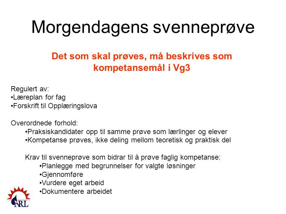 Morgendagens svenneprøve Det som skal prøves, må beskrives som kompetansemål i Vg3 Regulert av: Læreplan for fag Forskrift til Opplæringslova Overordn