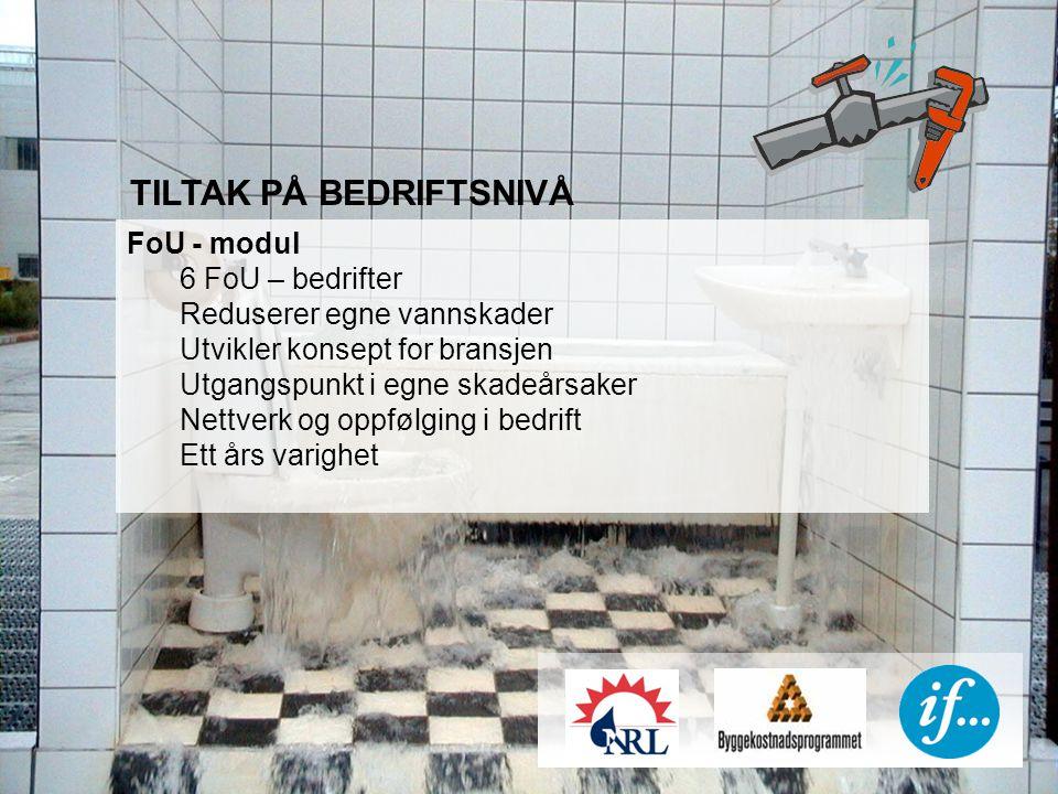 TILTAK PÅ BEDRIFTSNIVÅ FoU - modul 6 FoU – bedrifter Reduserer egne vannskader Utvikler konsept for bransjen Utgangspunkt i egne skadeårsaker Nettverk og oppfølging i bedrift Ett års varighet