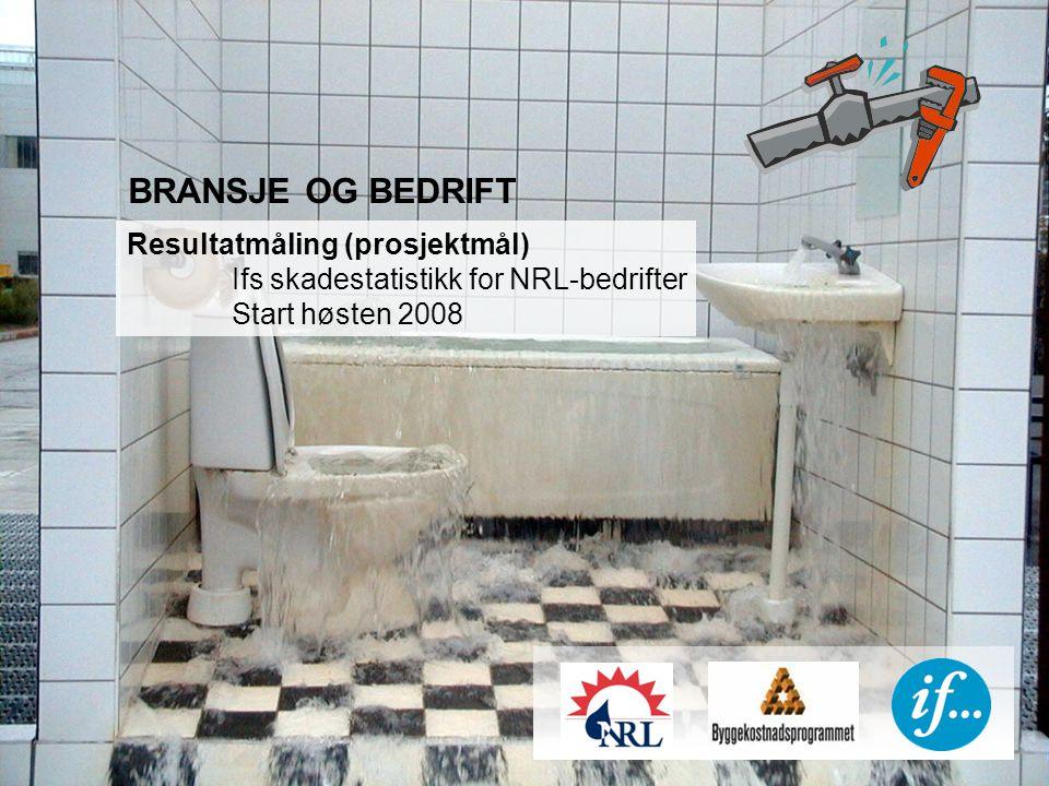 BRANSJE OG BEDRIFT Resultatmåling (prosjektmål) Ifs skadestatistikk for NRL-bedrifter Start høsten 2008