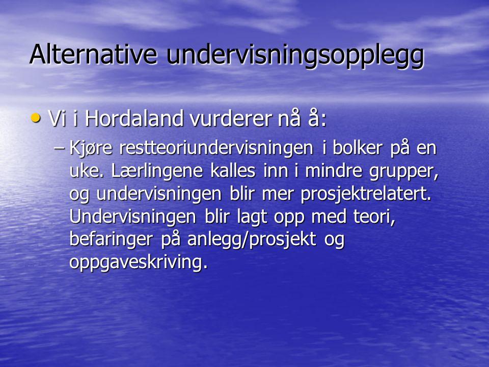 Alternative undervisningsopplegg Vi i Hordaland vurderer nå å: Vi i Hordaland vurderer nå å: –Kjøre restteoriundervisningen i bolker på en uke.