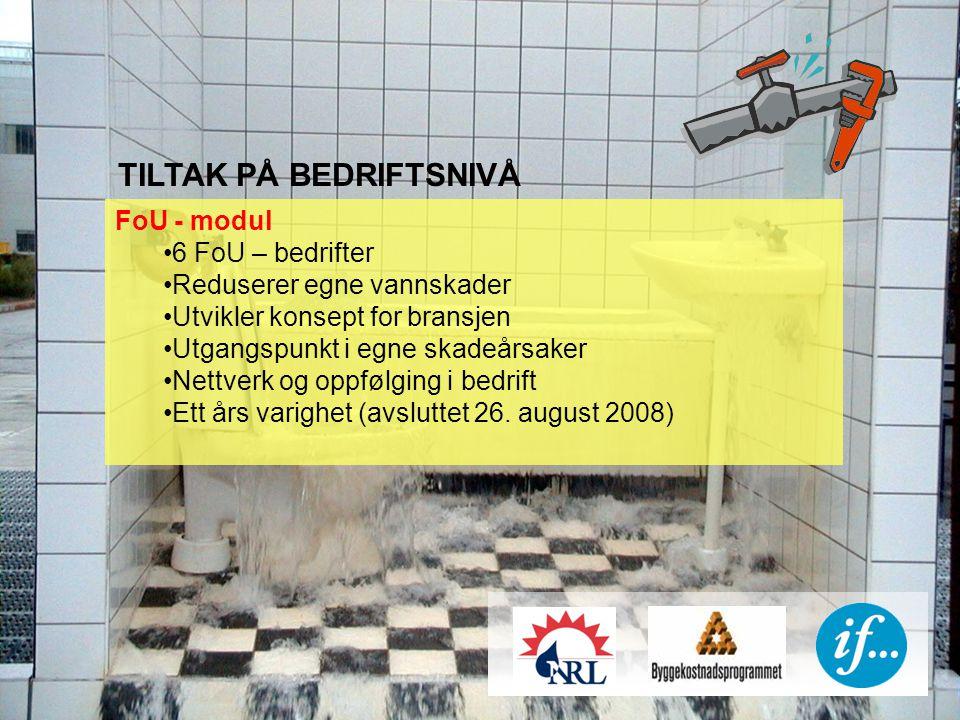 TILTAK PÅ BEDRIFTSNIVÅ FoU - modul 6 FoU – bedrifter Reduserer egne vannskader Utvikler konsept for bransjen Utgangspunkt i egne skadeårsaker Nettverk og oppfølging i bedrift Ett års varighet (avsluttet 26.