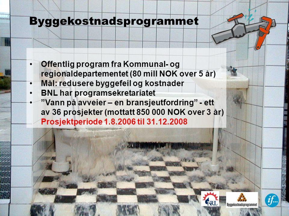 Byggekostnadsprogrammet Offentlig program fra Kommunal- og regionaldepartementet (80 mill NOK over 5 år) Mål: redusere byggefeil og kostnader BNL har programsekretariatet Vann på avveier – en bransjeutfordring - ett av 36 prosjekter (mottatt 850 000 NOK over 3 år) Prosjektperiode 1.8.2006 til 31.12.2008