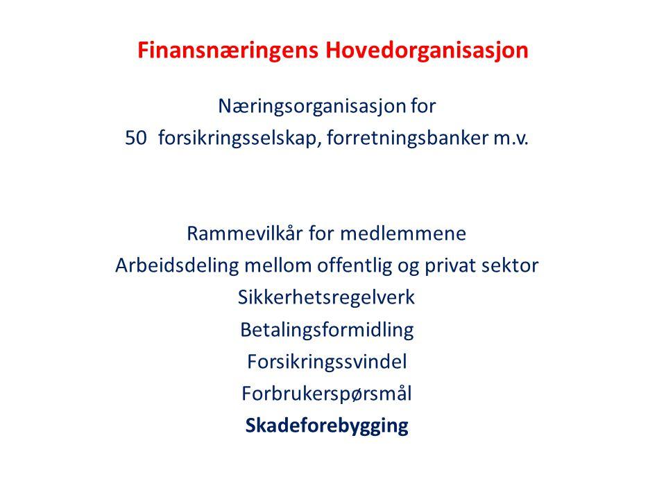 Finansnæringens Hovedorganisasjon Næringsorganisasjon for 50forsikringsselskap, forretningsbanker m.v. Rammevilkår for medlemmene Arbeidsdeling mellom