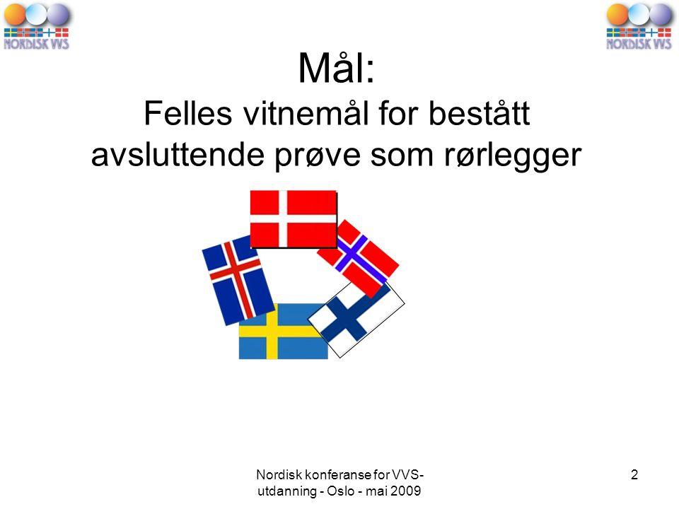 Nordisk konferanse for VVS- utdanning - Oslo - mai 2009 2 Mål: Felles vitnemål for bestått avsluttende prøve som rørlegger