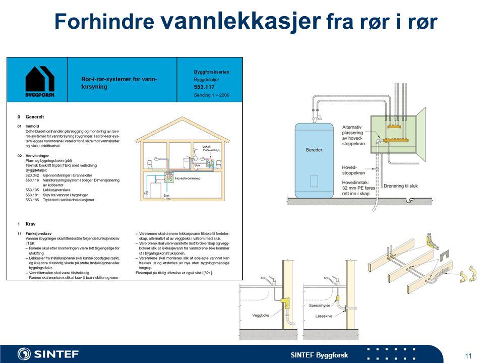 SINTEF Byggforsk 11 Forhindre vannlekkasjer fra rør i rør
