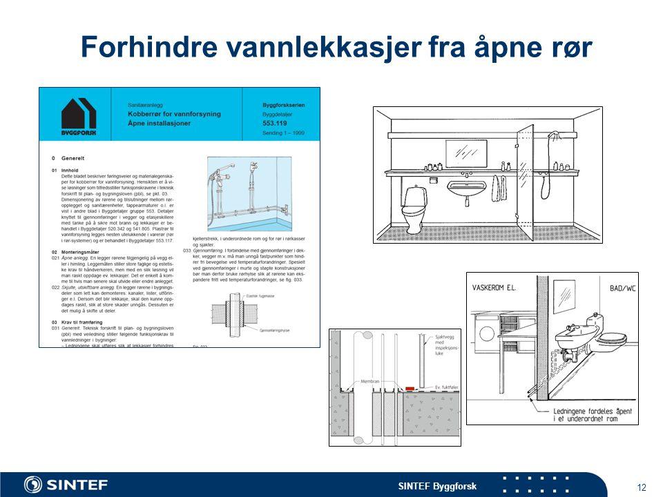 SINTEF Byggforsk 12 Forhindre vannlekkasjer fra åpne rør