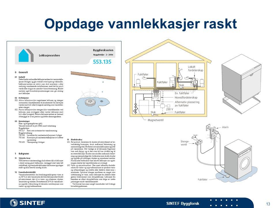 SINTEF Byggforsk 13 Oppdage vannlekkasjer raskt