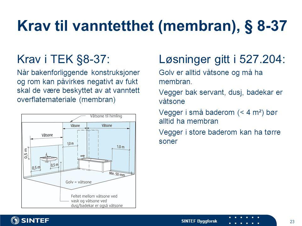 SINTEF Byggforsk 23 Krav til vanntetthet (membran), § 8-37 Krav i TEK §8-37: Når bakenforliggende konstruksjoner og rom kan påvirkes negativt av fukt