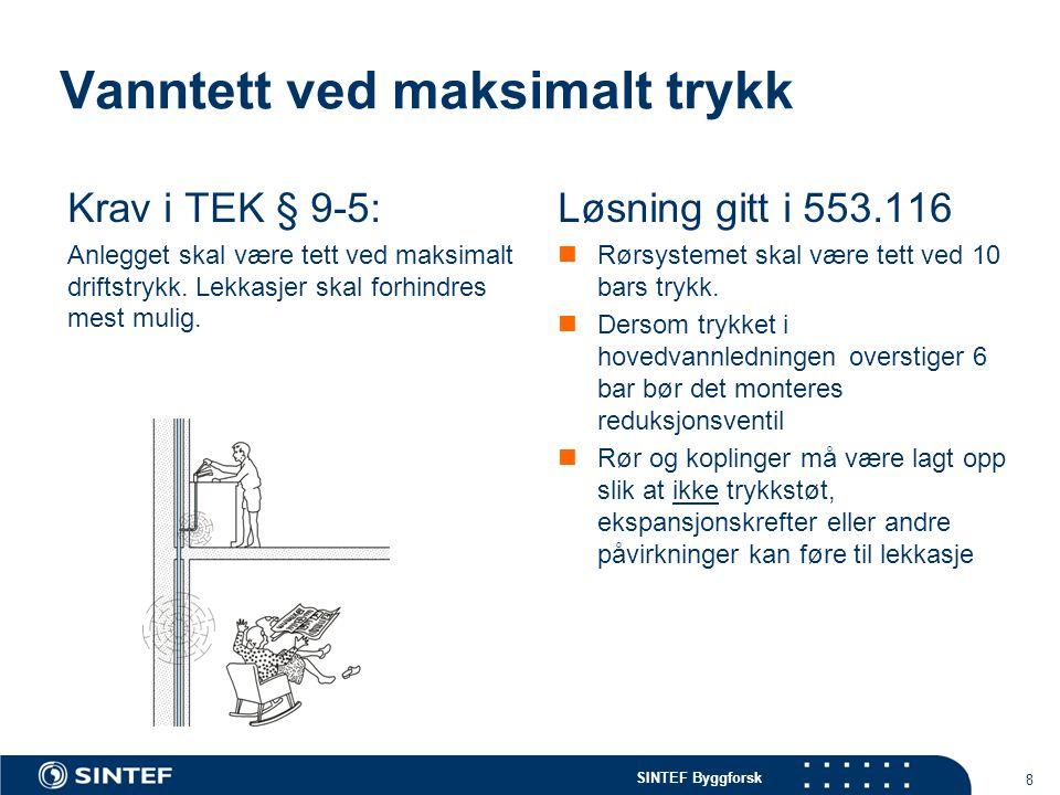 SINTEF Byggforsk Vanntett ved maksimalt trykk Krav i TEK § 9-5: Anlegget skal være tett ved maksimalt driftstrykk. Lekkasjer skal forhindres mest muli