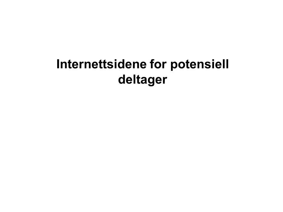 Internettsidene for potensiell deltager
