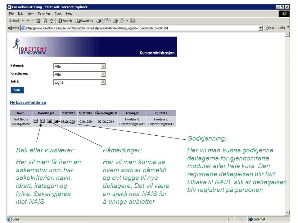 Søk etter kurslærer: Her vil man få frem en søkemotor som har søkekriterier: navn, idrett, kategori og fylke.