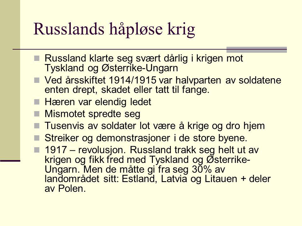 Russlands håpløse krig Russland klarte seg svært dårlig i krigen mot Tyskland og Østerrike-Ungarn Ved årsskiftet 1914/1915 var halvparten av soldatene