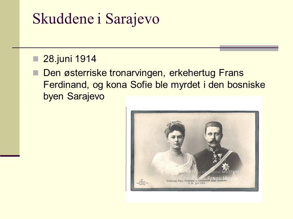 Skuddene i Sarajevo 28.juni 1914 Den østerriske tronarvingen, erkehertug Frans Ferdinand, og kona Sofie ble myrdet i den bosniske byen Sarajevo