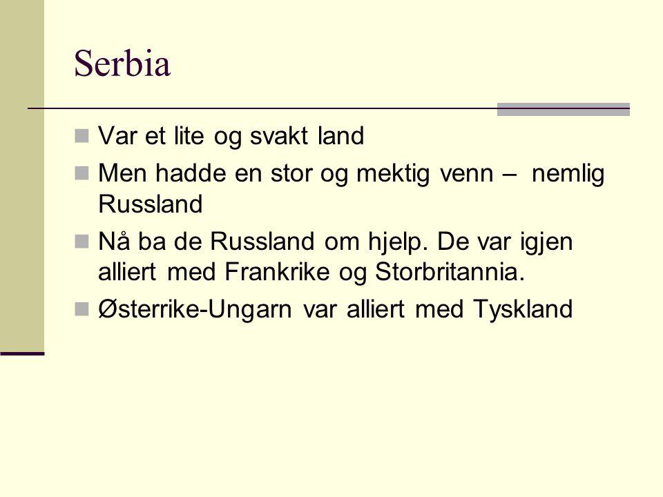 Serbia Var et lite og svakt land Men hadde en stor og mektig venn – nemlig Russland Nå ba de Russland om hjelp. De var igjen alliert med Frankrike og