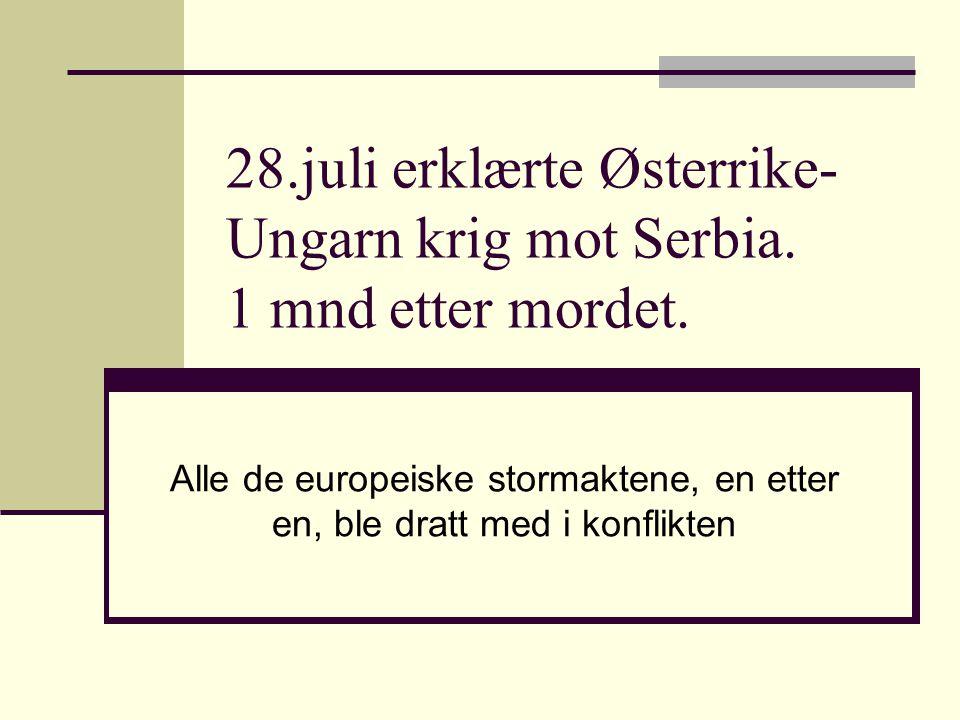 28.juli erklærte Østerrike- Ungarn krig mot Serbia. 1 mnd etter mordet. Alle de europeiske stormaktene, en etter en, ble dratt med i konflikten