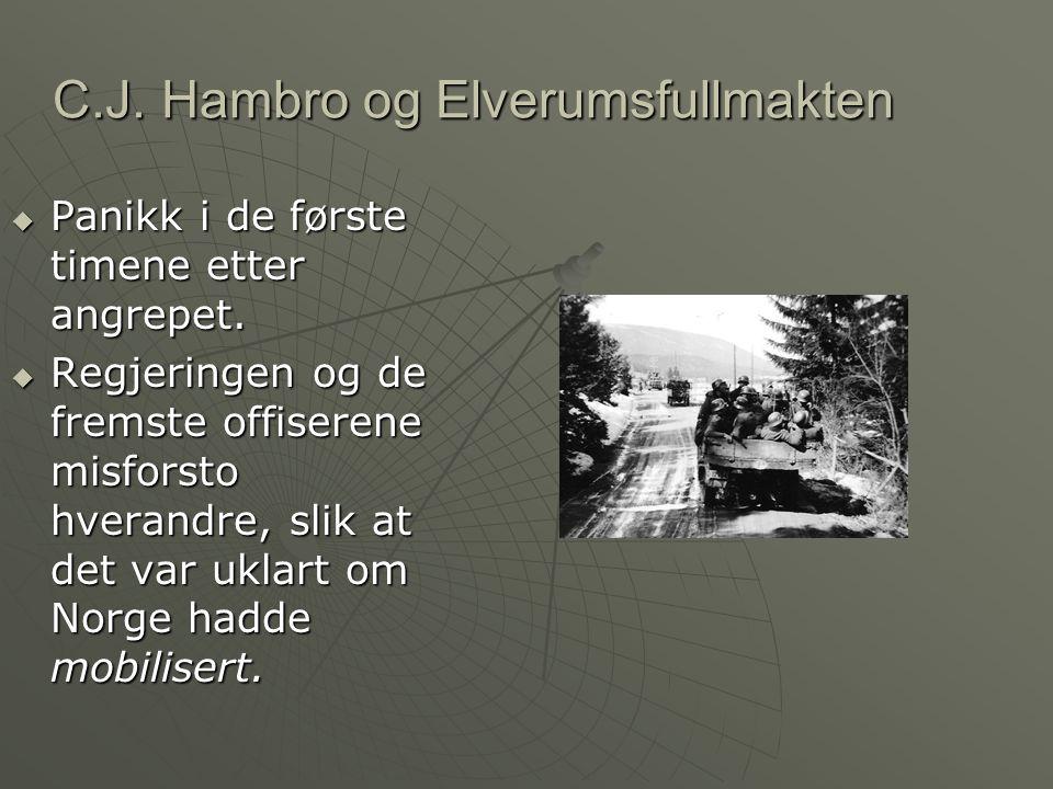 C.J.Hambro og Elverumsfullmakten  Panikk i de første timene etter angrepet.