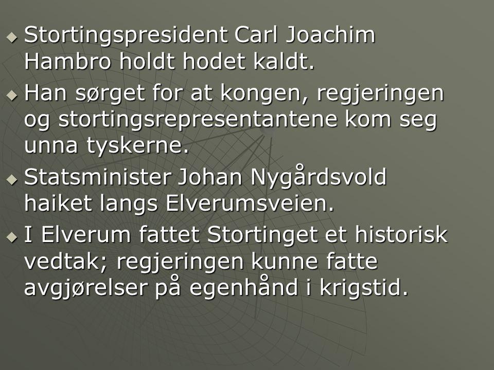 Stortingspresident Carl Joachim Hambro holdt hodet kaldt.