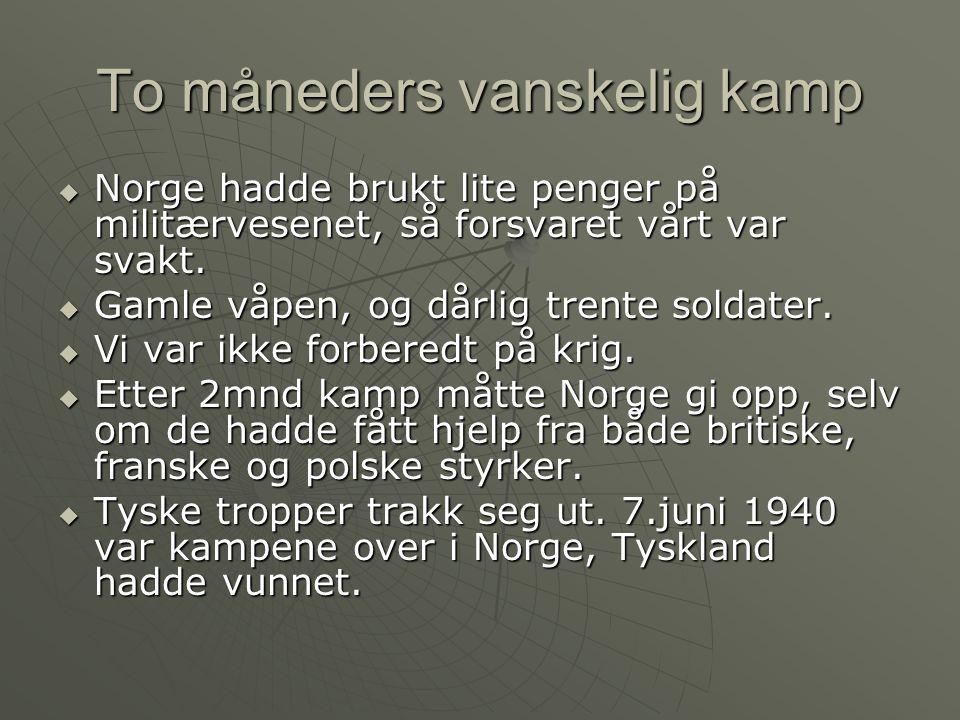 To måneders vanskelig kamp  Norge hadde brukt lite penger på militærvesenet, så forsvaret vårt var svakt.
