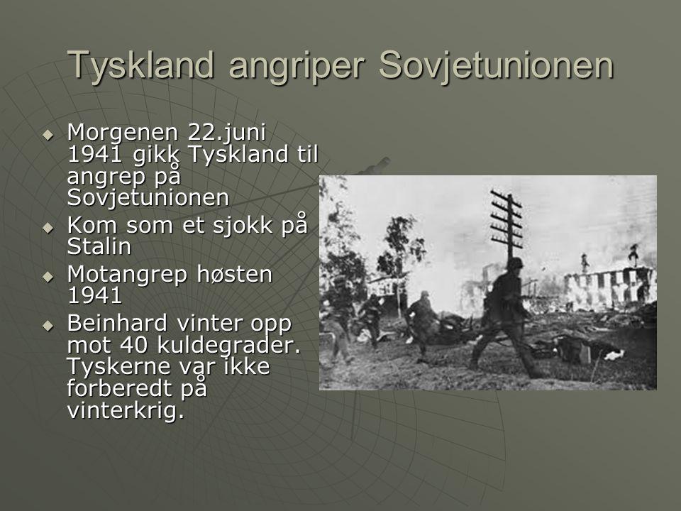 Tyskland angriper Sovjetunionen  Morgenen 22.juni 1941 gikk Tyskland til angrep på Sovjetunionen  Kom som et sjokk på Stalin  Motangrep høsten 1941  Beinhard vinter opp mot 40 kuldegrader.
