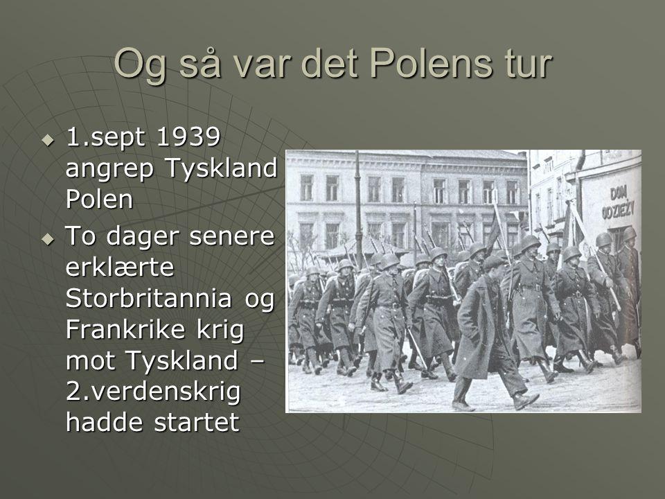 Polens korte kamp  Polens hær var gammeldags  De fikk lite hjelp og ble erobret på få uker  Polen ble delt mellom Sovjet og Tyskland