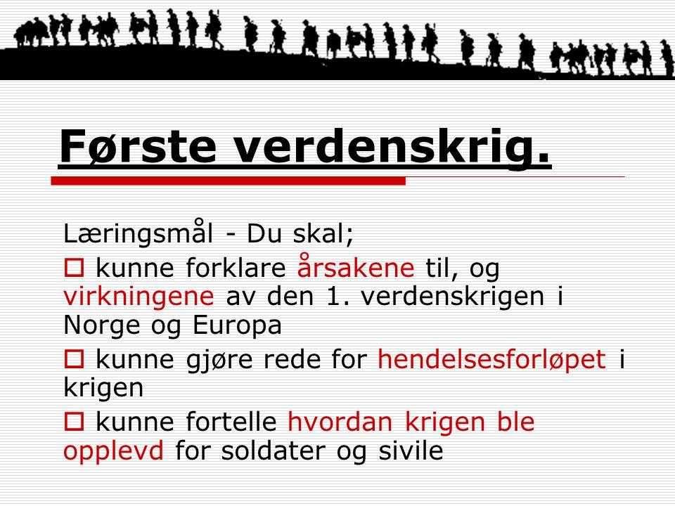 Første verdenskrig. Læringsmål - Du skal;  kunne forklare årsakene til, og virkningene av den 1. verdenskrigen i Norge og Europa  kunne gjøre rede f