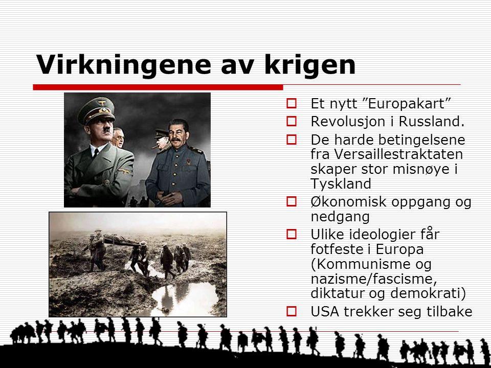 """Virkningene av krigen  Et nytt """"Europakart""""  Revolusjon i Russland.  De harde betingelsene fra Versaillestraktaten skaper stor misnøye i Tyskland """