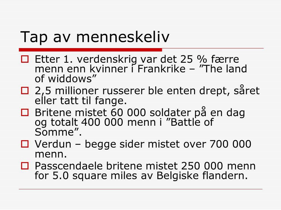 """Tap av menneskeliv  Etter 1. verdenskrig var det 25 % færre menn enn kvinner i Frankrike – """"The land of widdows""""  2,5 millioner russerer ble enten d"""