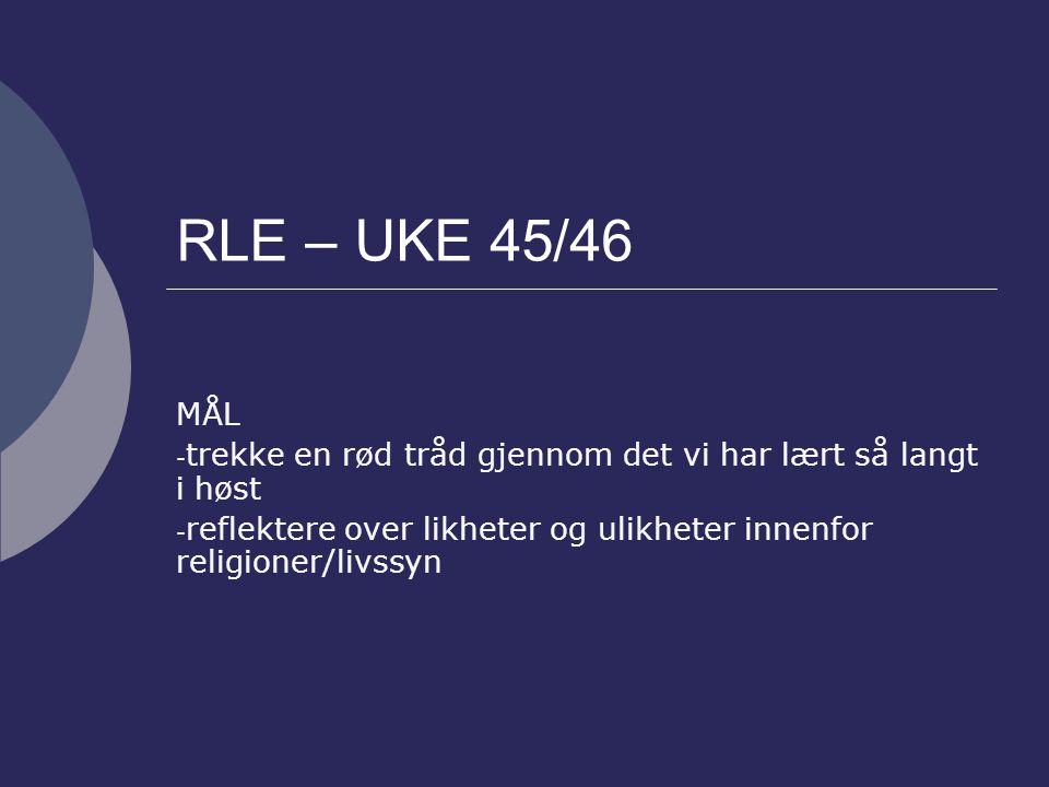 RLE – UKE 45/46 MÅL - trekke en rød tråd gjennom det vi har lært så langt i høst - reflektere over likheter og ulikheter innenfor religioner/livssyn
