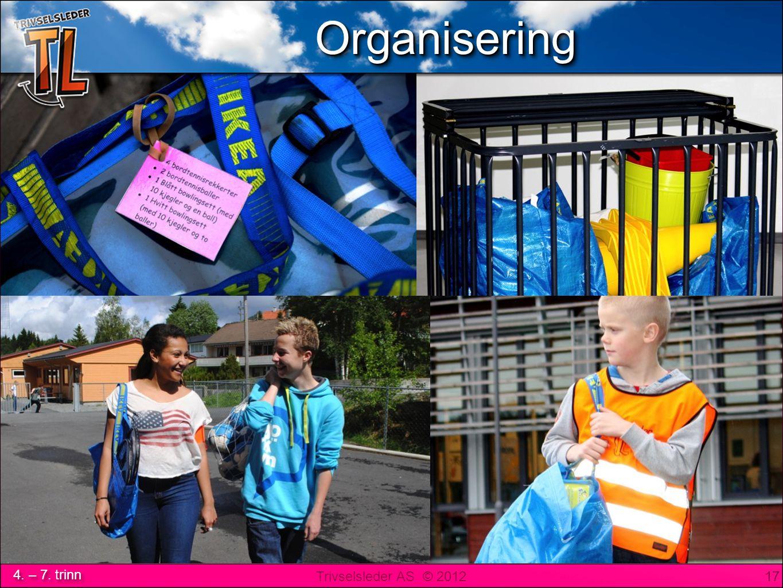 Trivselsleder AS © 2012 4. – 7. trinn …eller merkede poser til faste TL 17 OrganiseringOrganisering