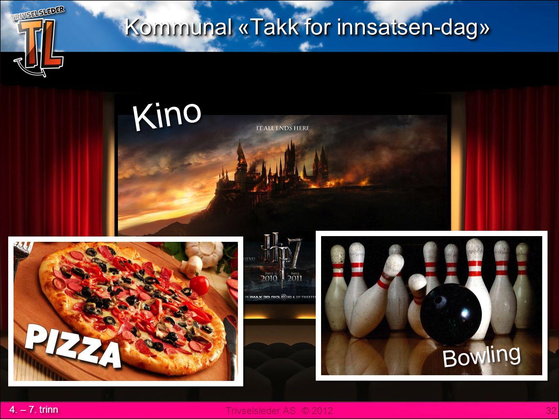 Trivselsleder AS © 2012 4. – 7. trinn Kommunal «Takk for innsatsen-dag» 32 Bowling Kino