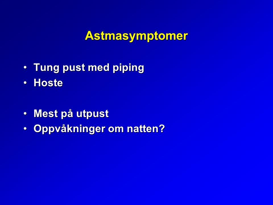 Astmasymptomer Tung pust med pipingTung pust med piping HosteHoste Mest på utpustMest på utpust Oppvåkninger om natten?Oppvåkninger om natten?