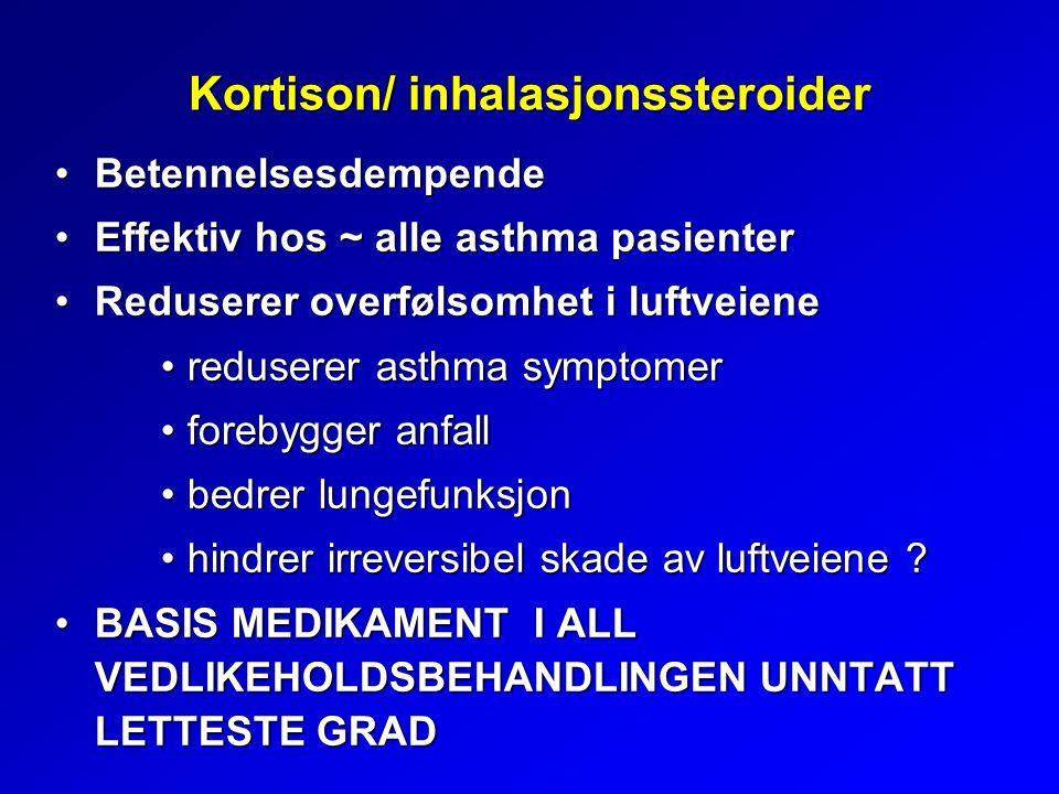 Kortison/ inhalasjonssteroider BetennelsesdempendeBetennelsesdempende Effektiv hos ~ alle asthma pasienterEffektiv hos ~ alle asthma pasienter Reduserer overfølsomhet i luftveieneReduserer overfølsomhet i luftveiene reduserer asthma symptomerreduserer asthma symptomer forebygger anfallforebygger anfall bedrer lungefunksjonbedrer lungefunksjon hindrer irreversibel skade av luftveiene ?hindrer irreversibel skade av luftveiene .