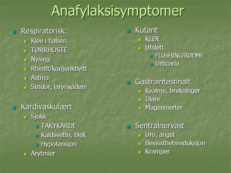 Anafylaksisymptomer Respiratorisk: Respiratorisk: Kløe i halsen Kløe i halsen TØRRHOSTE TØRRHOSTE Nysing Nysing Rhinitt/konjunktivitt Rhinitt/konjunktivitt Astma Astma Stridor, larynxødem Stridor, larynxødem Kardivaskulært Kardivaskulært Sjokk Sjokk TAKYKARDI TAKYKARDI Kaldsvette, blek Kaldsvette, blek Hypotensjon Hypotensjon Arytmier Arytmier Kutant Kutant KLØE Utslett FLUSHING/RØDME Urticaria Gastrointestinalt Gastrointestinalt Kvalme, brekninger Diare Magesmerter Sentralnervøst Sentralnervøst Uro, angst Bevissthetsreduksjon Kramper