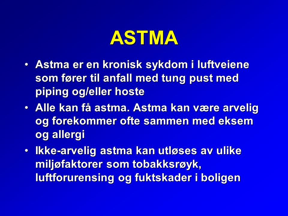 ASTMA Astma er en kronisk sykdom i luftveiene som fører til anfall med tung pust med piping og/eller hosteAstma er en kronisk sykdom i luftveiene som